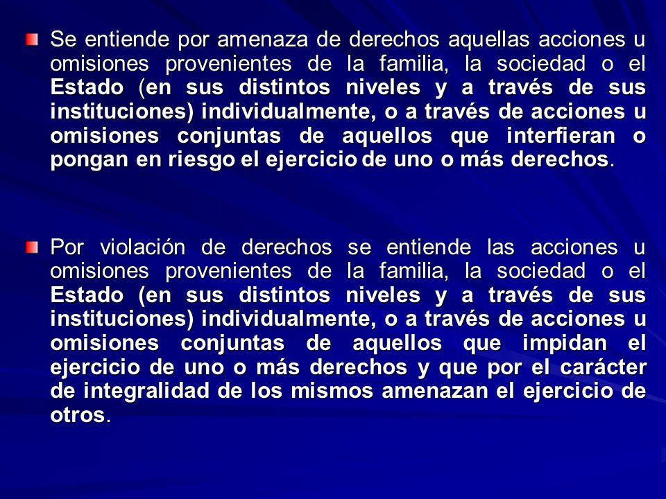 Se entiende por amenaza de derechos aquellas acciones u omisiones provenientes de la familia, la sociedad o el Estado (en sus distintos niveles y a tr