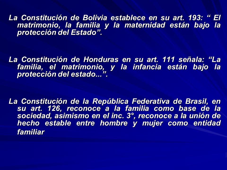 La Constitución de Bolivia establece en su art. 193: El matrimonio, la familia y la maternidad están bajo la protección del Estado. La Constitución de