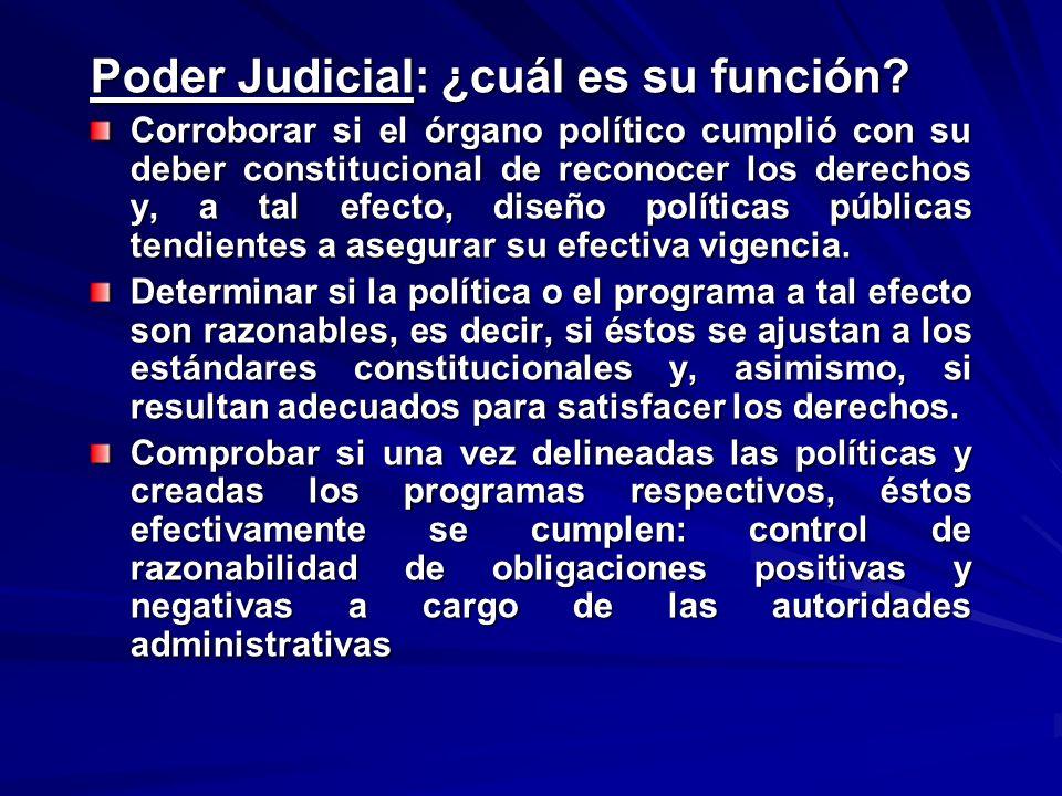Poder Judicial: ¿cuál es su función? Corroborar si el órgano político cumplió con su deber constitucional de reconocer los derechos y, a tal efecto, d