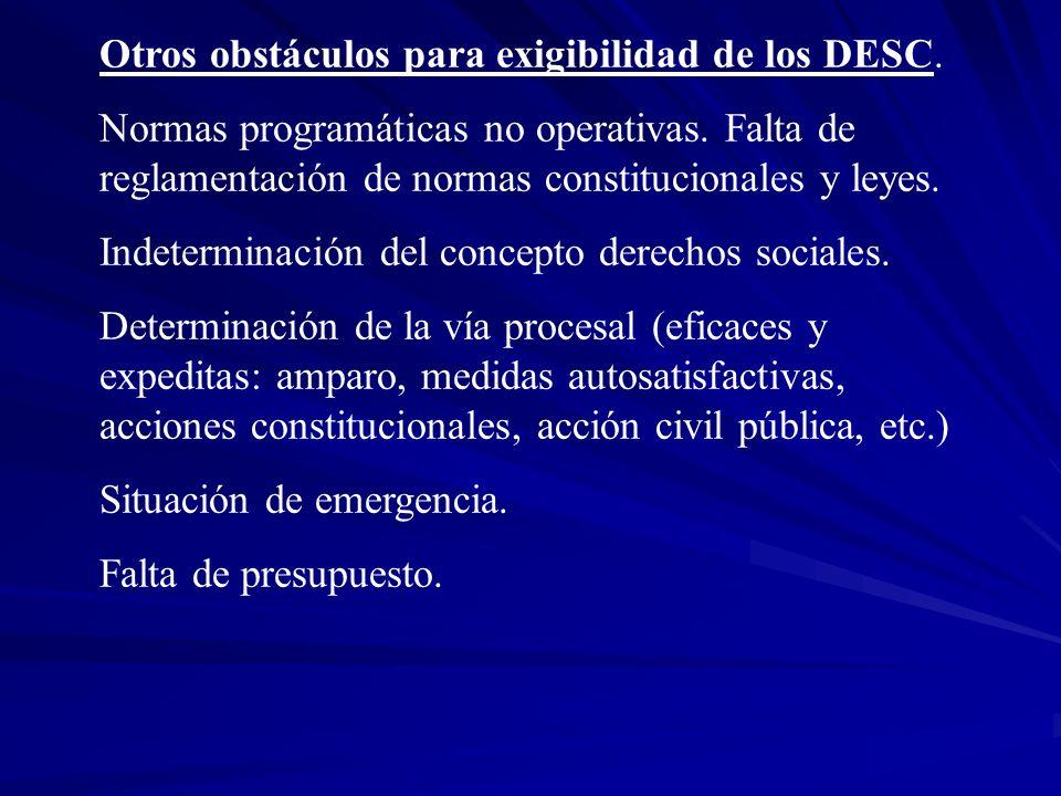 Otros obstáculos para exigibilidad de los DESC. Normas programáticas no operativas. Falta de reglamentación de normas constitucionales y leyes. Indete