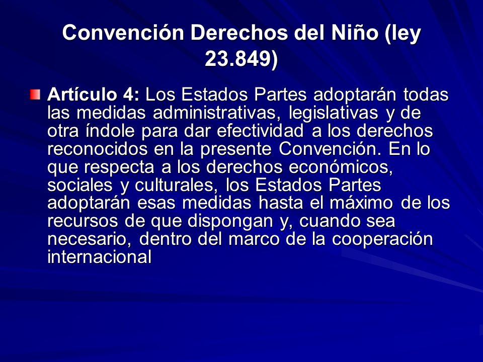 Convención Derechos del Niño (ley 23.849) Artículo 4: Los Estados Partes adoptarán todas las medidas administrativas, legislativas y de otra índole pa