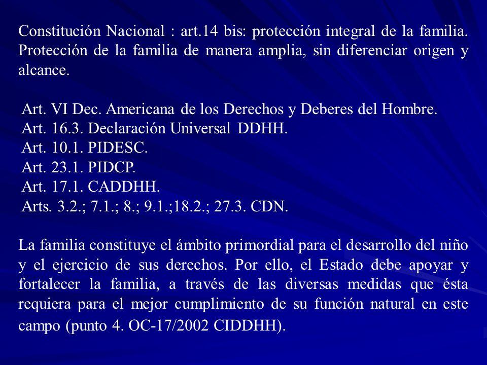 Constitución Nacional : art.14 bis: protección integral de la familia. Protección de la familia de manera amplia, sin diferenciar origen y alcance. Ar