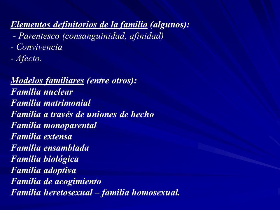 Elementos definitorios de la familia (algunos): - Parentesco (consanguinidad, afinidad) - Convivencia - Afecto. Modelos familiares (entre otros): Fami