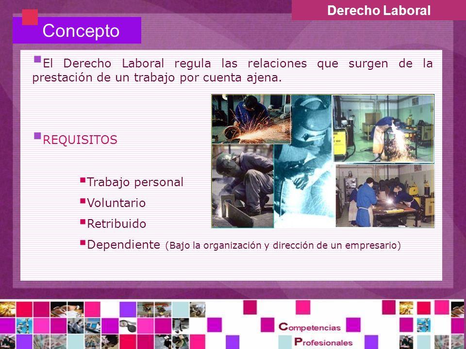 Derecho Laboral Concepto El Derecho Laboral regula las relaciones que surgen de la prestación de un trabajo por cuenta ajena. REQUISITOS Trabajo perso