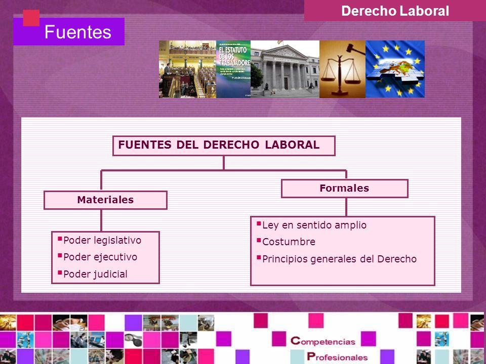 Derecho Laboral Fuentes FUENTES DEL DERECHO LABORAL Ley en sentido amplio Costumbre Principios generales del Derecho Poder legislativo Poder ejecutivo Poder judicial Materiales Formales