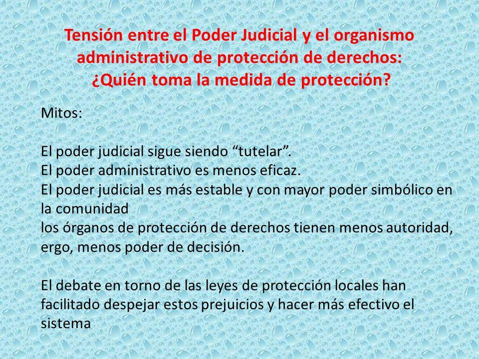 Tensión entre el Poder Judicial y el organismo administrativo de protección de derechos: ¿Quién toma la medida de protección? Mitos: El poder judicial