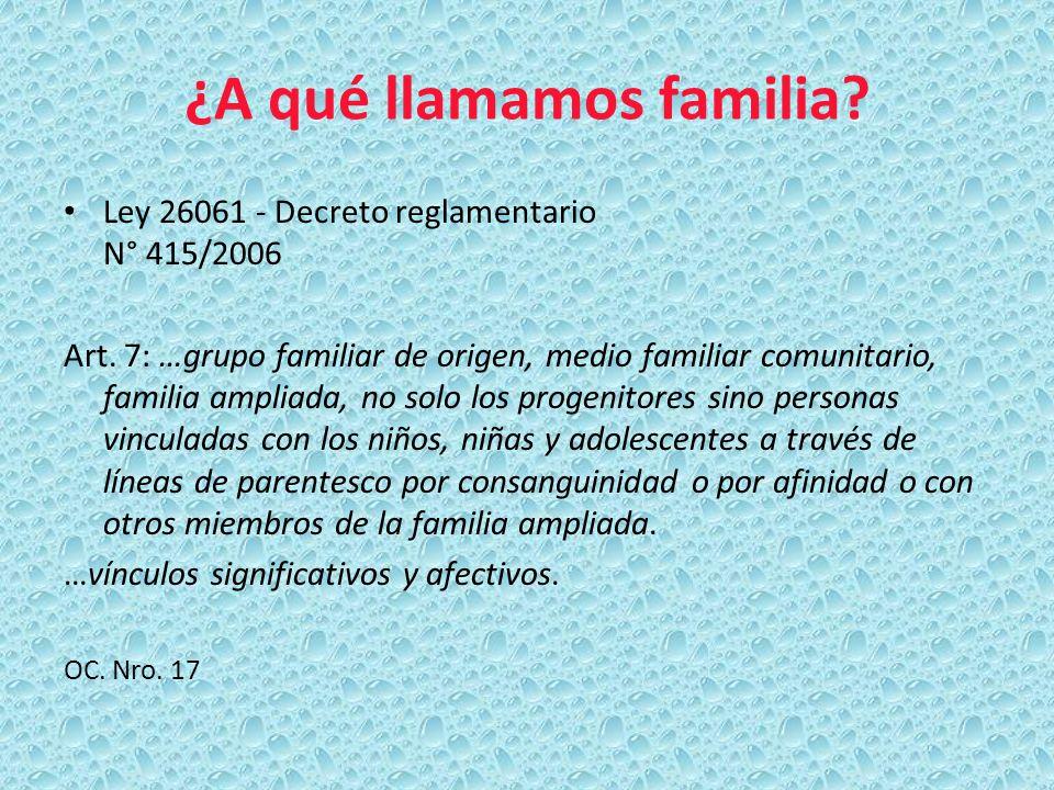 ¿A qué llamamos familia? Ley 26061 - Decreto reglamentario N° 415/2006 Art. 7: …grupo familiar de origen, medio familiar comunitario, familia ampliada