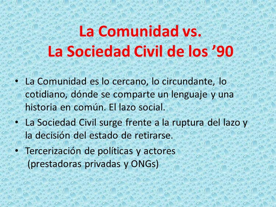 La Comunidad vs. La Sociedad Civil de los 90 La Comunidad es lo cercano, lo circundante, lo cotidiano, dónde se comparte un lenguaje y una historia en