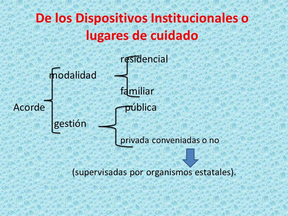 De los Dispositivos Institucionales o lugares de cuidado residencial modalidad familiar Acorde pública gestión privada conveniadas o no (supervisadas