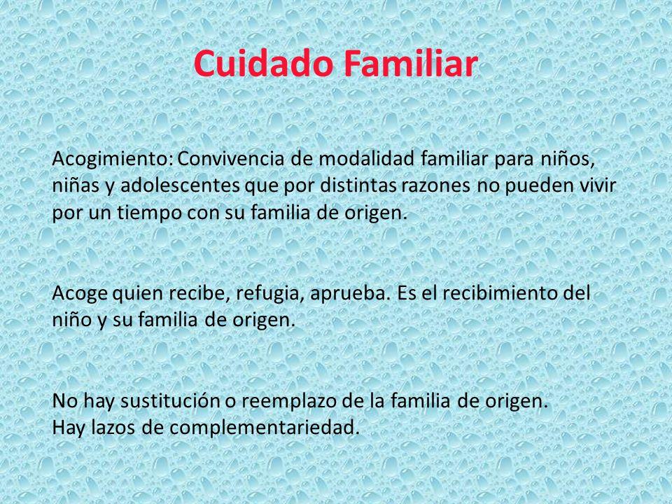 Cuidado Familiar Acogimiento: Convivencia de modalidad familiar para niños, niñas y adolescentes que por distintas razones no pueden vivir por un tiem