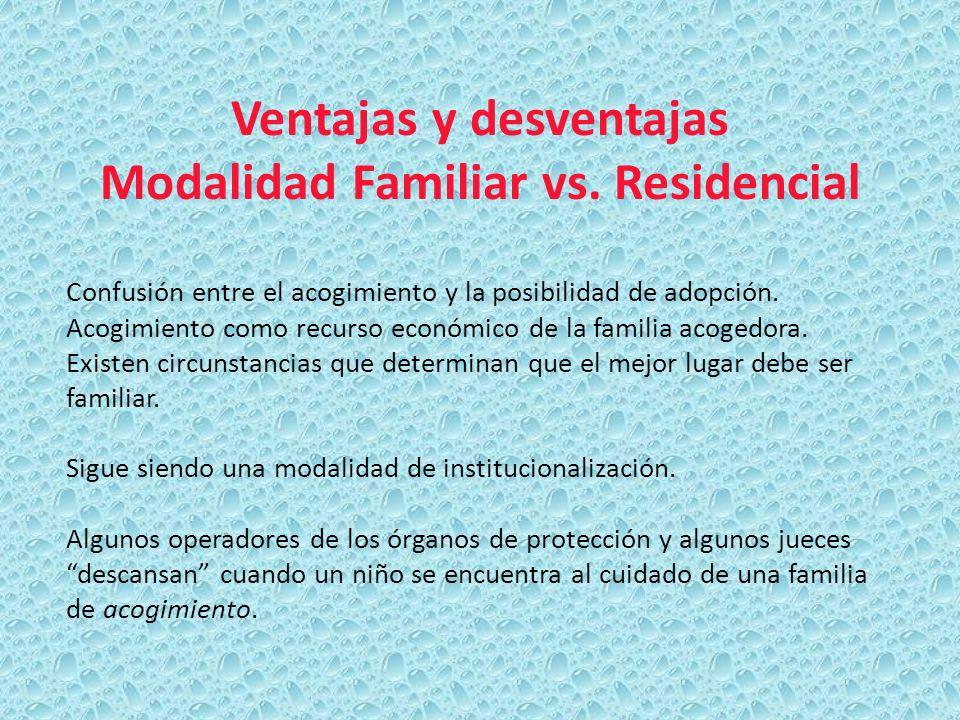 Ventajas y desventajas Modalidad Familiar vs. Residencial Confusión entre el acogimiento y la posibilidad de adopción. Acogimiento como recurso económ