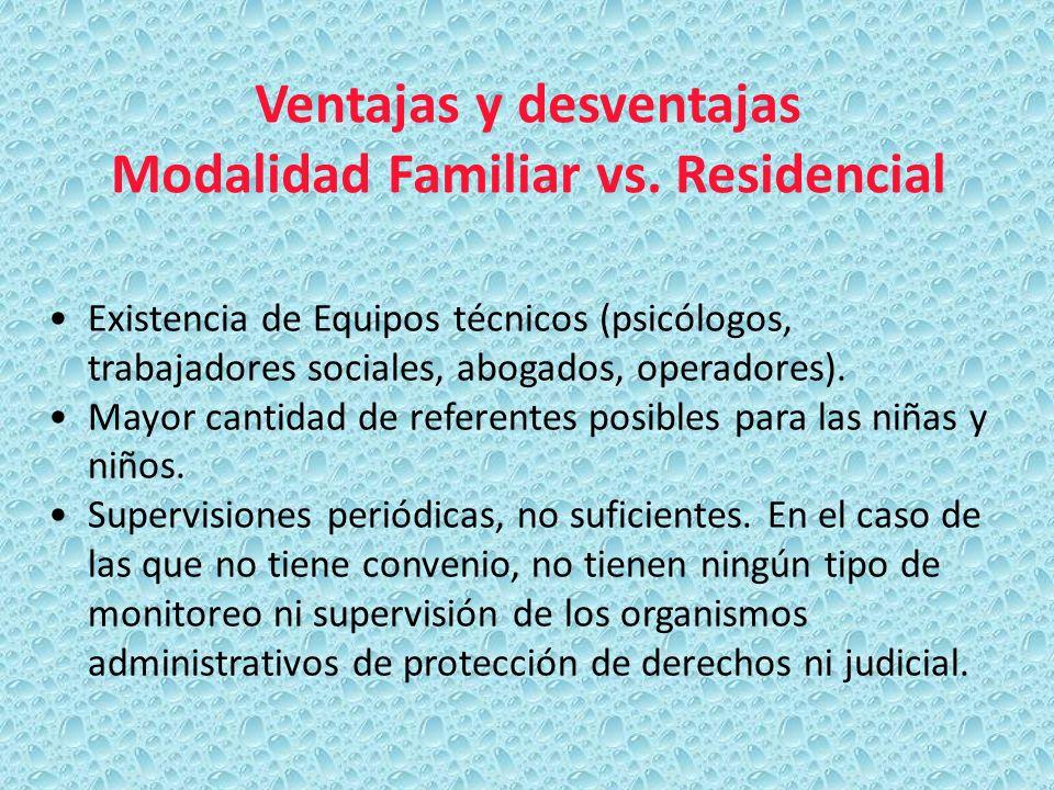 Ventajas y desventajas Modalidad Familiar vs. Residencial Existencia de Equipos técnicos (psicólogos, trabajadores sociales, abogados, operadores). Ma