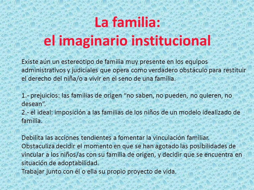 La familia: el imaginario institucional Existe aún un estereotipo de familia muy presente en los equipos administrativos y judiciales que opera como v