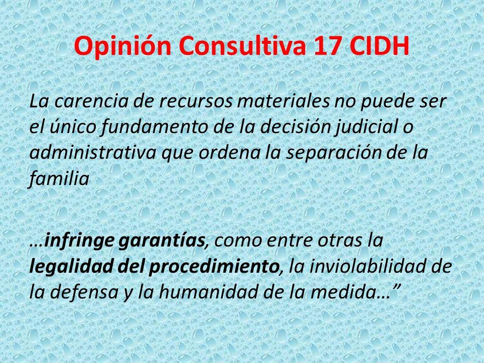 Opinión Consultiva 17 CIDH La carencia de recursos materiales no puede ser el único fundamento de la decisión judicial o administrativa que ordena la