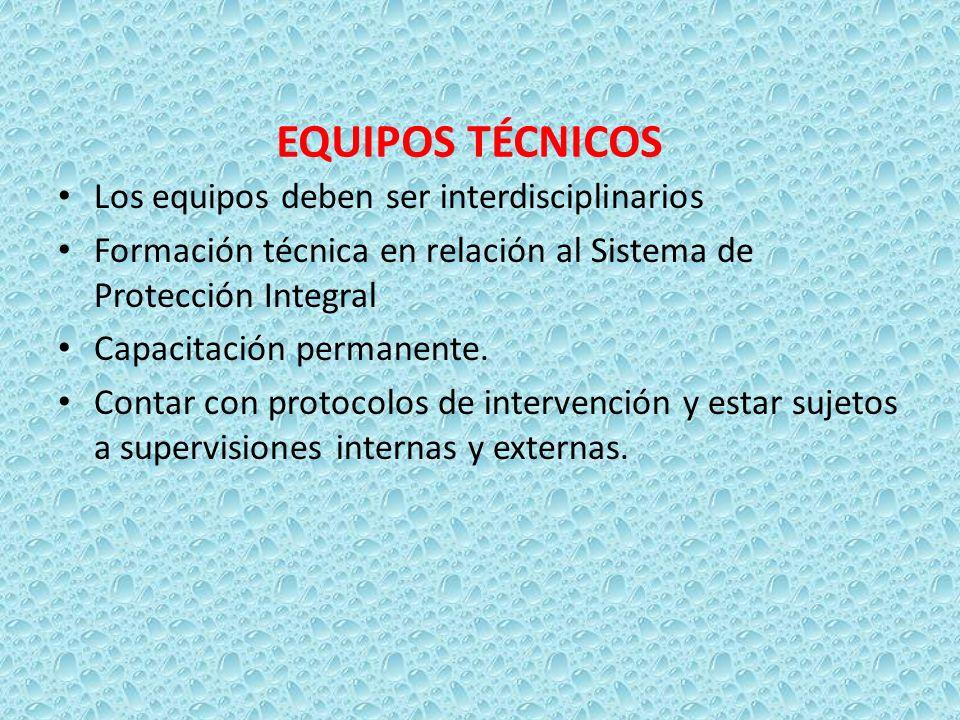 EQUIPOS TÉCNICOS Los equipos deben ser interdisciplinarios Formación técnica en relación al Sistema de Protección Integral Capacitación permanente. Co