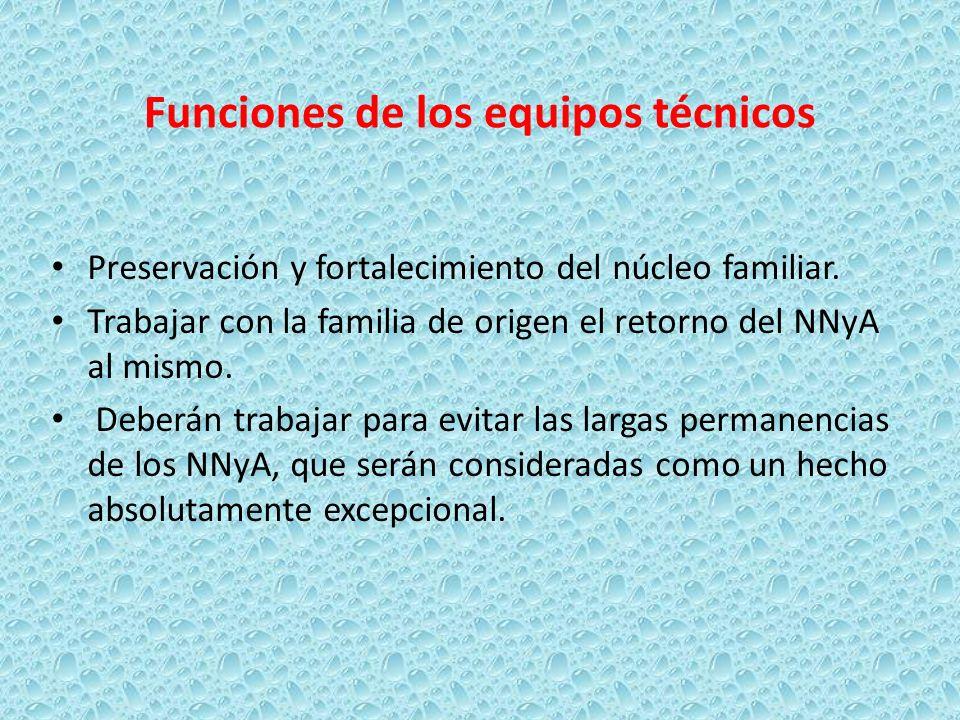 Funciones de los equipos técnicos Preservación y fortalecimiento del núcleo familiar. Trabajar con la familia de origen el retorno del NNyA al mismo.