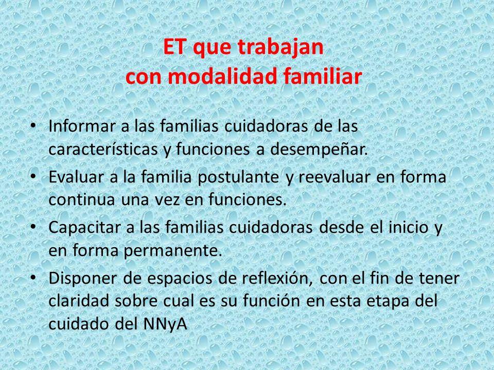 Informar a las familias cuidadoras de las características y funciones a desempeñar. Evaluar a la familia postulante y reevaluar en forma continua una