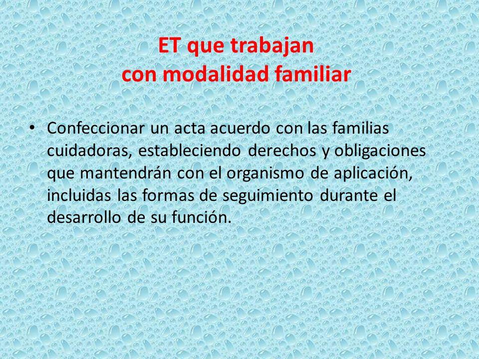 Confeccionar un acta acuerdo con las familias cuidadoras, estableciendo derechos y obligaciones que mantendrán con el organismo de aplicación, incluid