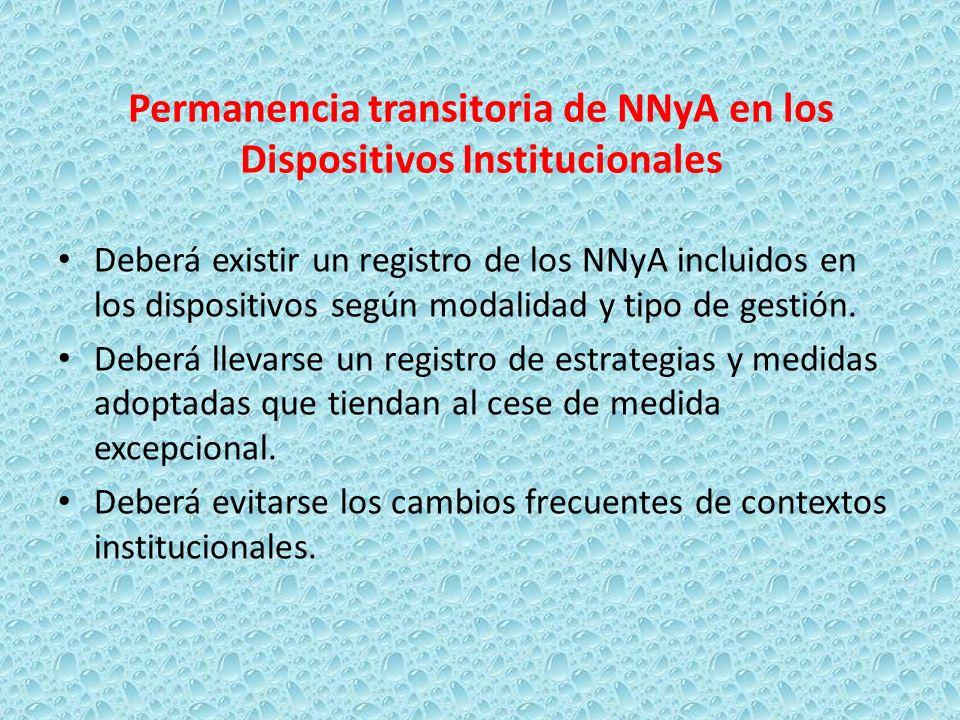Permanencia transitoria de NNyA en los Dispositivos Institucionales Deberá existir un registro de los NNyA incluidos en los dispositivos según modalid