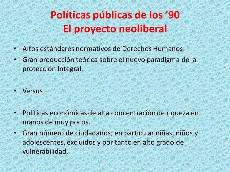 Políticas públicas de los 90 El proyecto neoliberal Altos estándares normativos de Derechos Humanos. Gran producción teórica sobre el nuevo paradigma