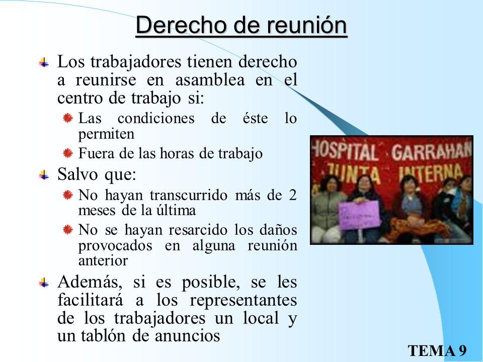 TEMA 9 Órganos de rep. sindical Los trabajadores afiliados a un sindicato pueden constituir secciones sindicales que les permiten disponer de un tabló