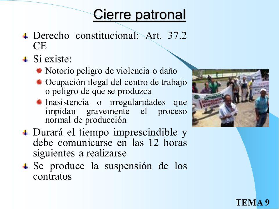 TEMA 9 La huelga Es un Dcho. Fundamental: art. 28.2 CE Procedimiento: Acuerdo expreso de huelga Comunicación por escrito a empresario y autoridad labo