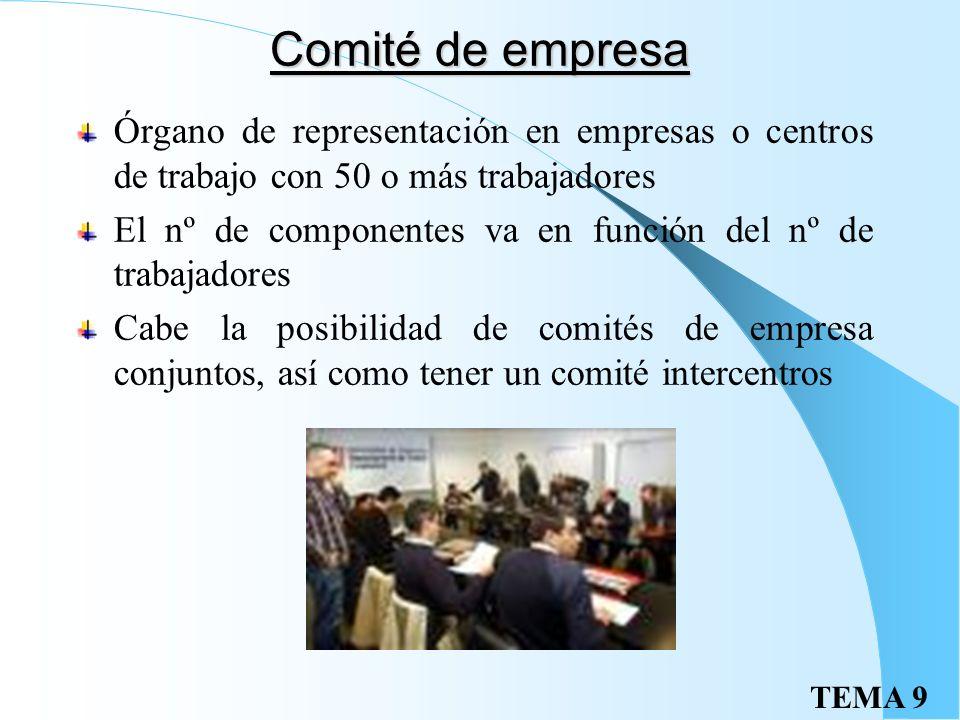 TEMA 9 Comité de empresa Órgano de representación en empresas o centros de trabajo con 50 o más trabajadores El nº de componentes va en función del nº de trabajadores Cabe la posibilidad de comités de empresa conjuntos, así como tener un comité intercentros