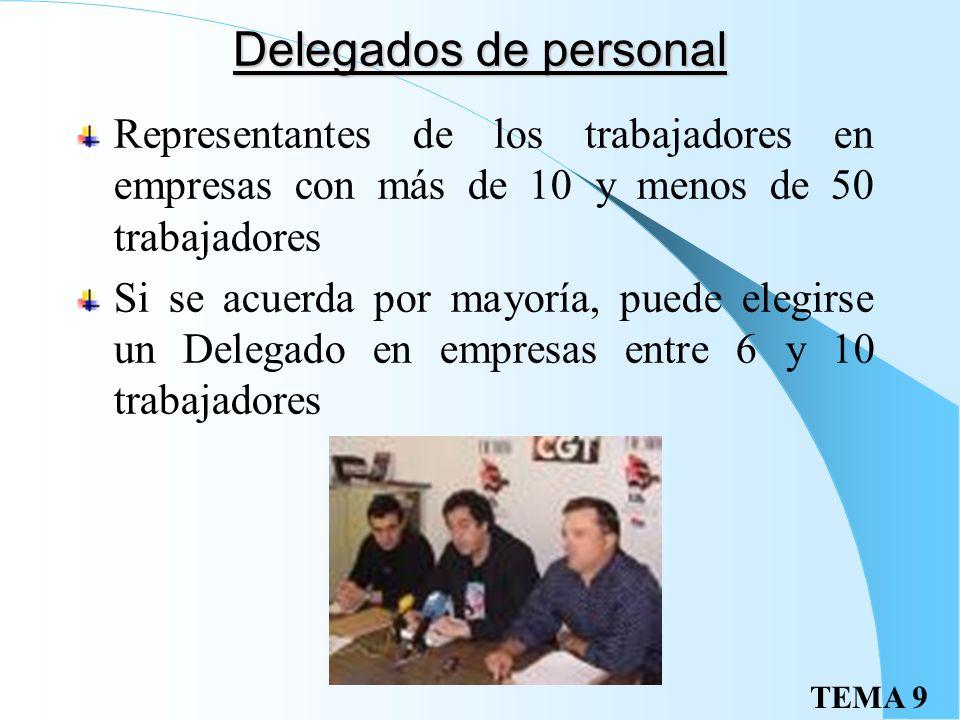 TEMA 9 Delegados de personal Representantes de los trabajadores en empresas con más de 10 y menos de 50 trabajadores Si se acuerda por mayoría, puede elegirse un Delegado en empresas entre 6 y 10 trabajadores