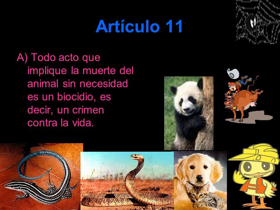 Artículo 11 A) Todo acto que implique la muerte del animal sin necesidad es un biocidio, es decir, un crimen contra la vida.