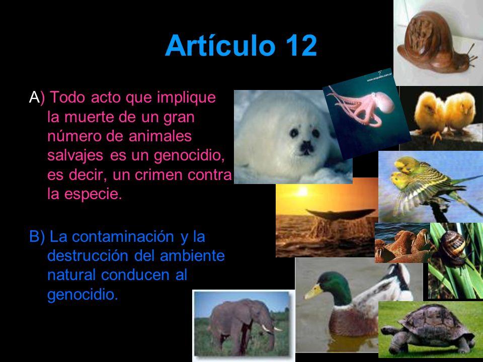 Artículo 12 A) Todo acto que implique la muerte de un gran número de animales salvajes es un genocidio, es decir, un crimen contra la especie. B) La c