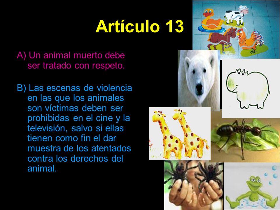 Artículo 13 A) Un animal muerto debe ser tratado con respeto. B) Las escenas de violencia en las que los animales son víctimas deben ser prohibidas en