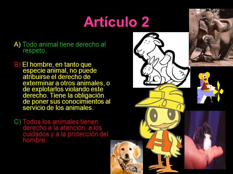 Artículo 2 A) Todo animal tiene derecho al respeto. B) El hombre, en tanto que especie animal, no puede atribuirse el derecho de exterminar a otros an