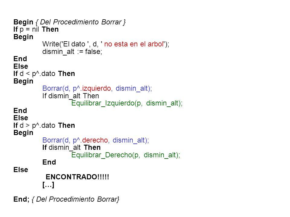 Else {ENCONTRADO!!!!!} Begin q := p; If q^.derecho = nil Then Begin p := q^.izquierdo; dismin_alt := true; End Else If q^.izquierdo = nil Then Begin p := q^.derecho; dismin_alt := true; End Else Begin Bor(q^.izquierdo, dismin_alt); If dismin_alt Then Equilibrar_Izquierdo(p, dismin_alt); End; Dispose(q); End; End; { Del Procedimiento Borrar} El nodo borrado será reemplazado por el nodo del hijo izquierdo que se encuentre más a la derecha 8 410 26 7 11 8 4 8 10
