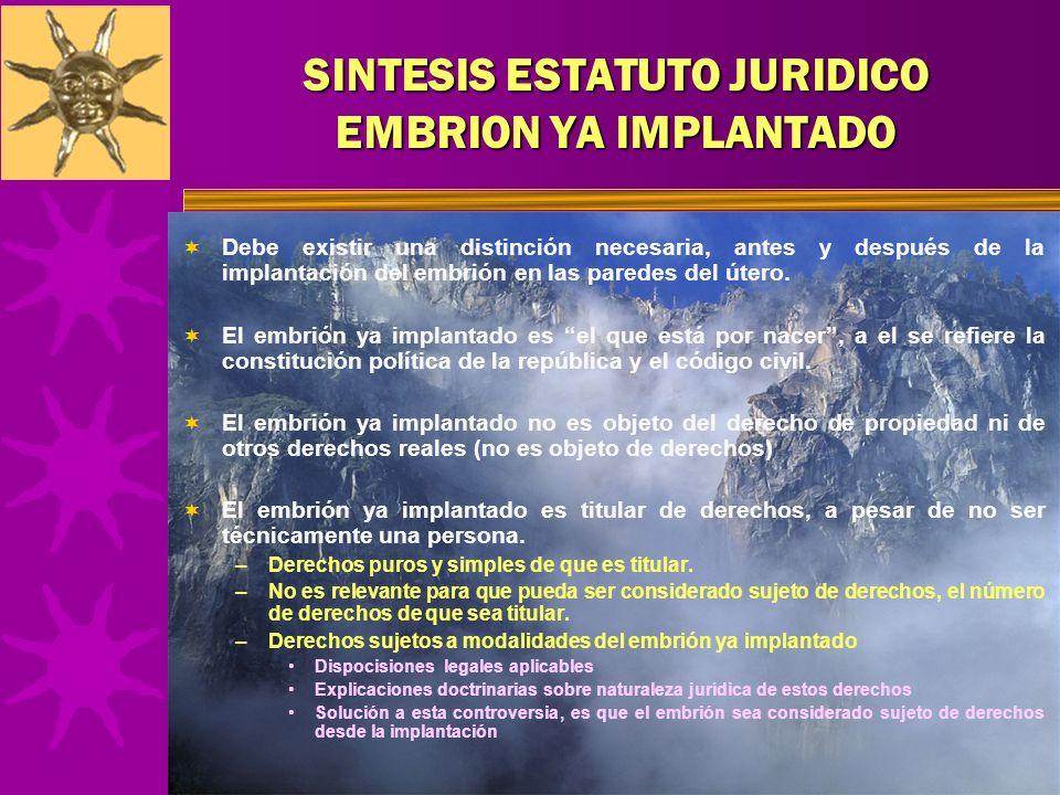 SINTESIS ESTATUTO JURIDICO EMBRION YA IMPLANTADO Debe existir una distinción necesaria, antes y después de la implantación del embrión en las paredes