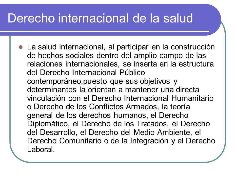 Derecho internacional de la salud La salud internacional, al participar en la construcción de hechos sociales dentro del amplio campo de las relacione