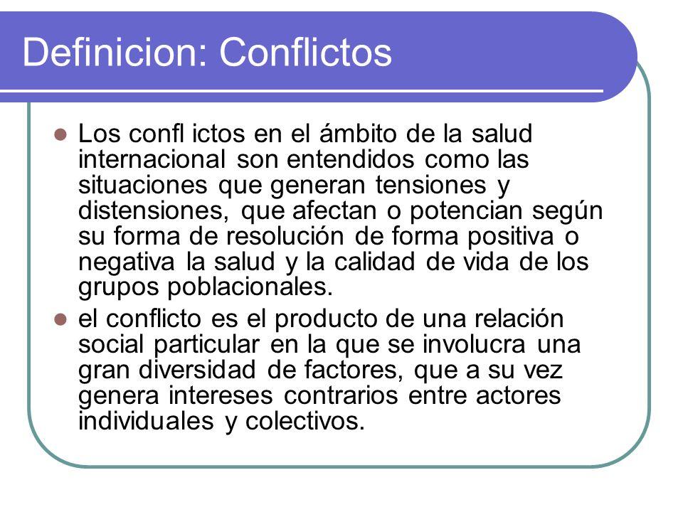 Definicion: Conflictos Los confl ictos en el ámbito de la salud internacional son entendidos como las situaciones que generan tensiones y distensiones