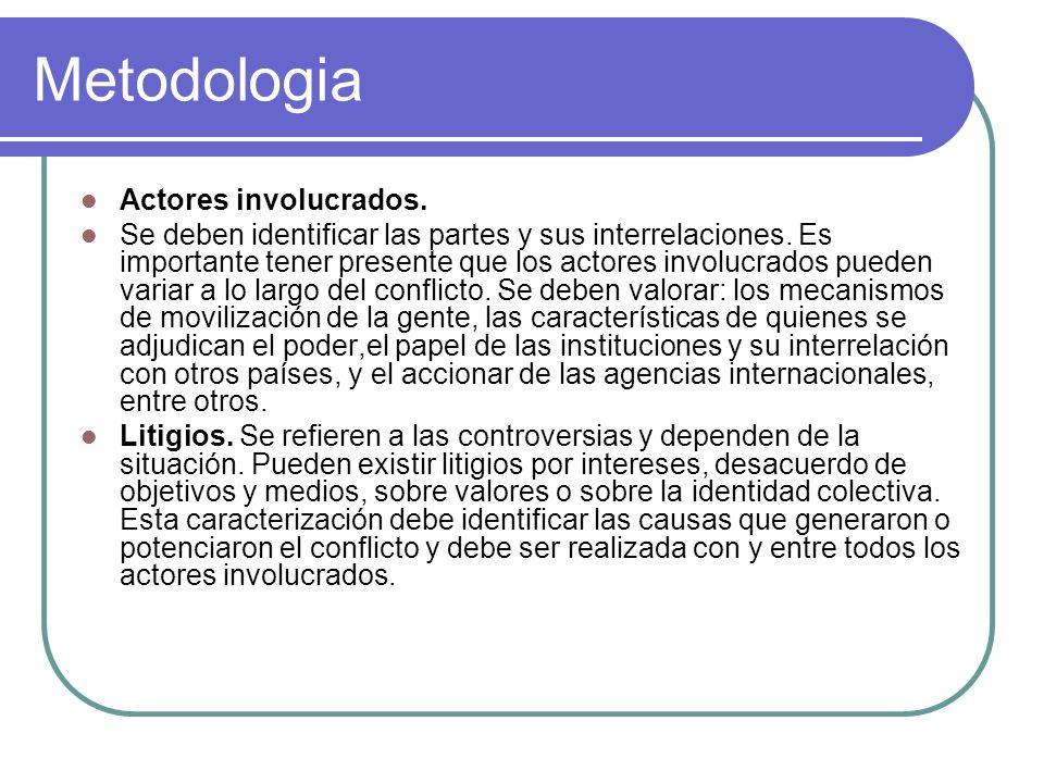 Metodologia Actores involucrados. Se deben identificar las partes y sus interrelaciones. Es importante tener presente que los actores involucrados pue