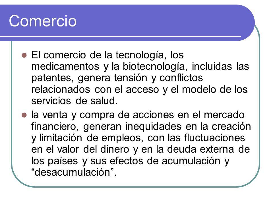 Comercio El comercio de la tecnología, los medicamentos y la biotecnología, incluidas las patentes, genera tensión y conflictos relacionados con el ac
