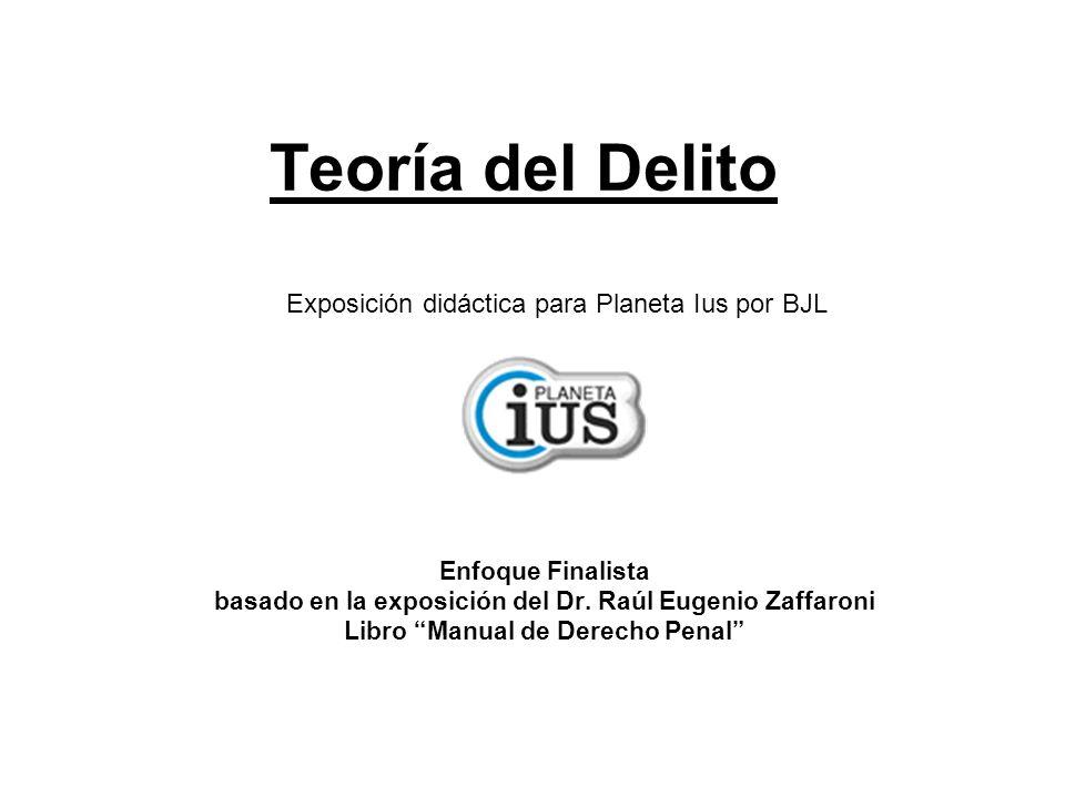Teoría del Delito Enfoque Finalista basado en la exposición del Dr. Raúl Eugenio Zaffaroni Libro Manual de Derecho Penal Exposición didáctica para Pla