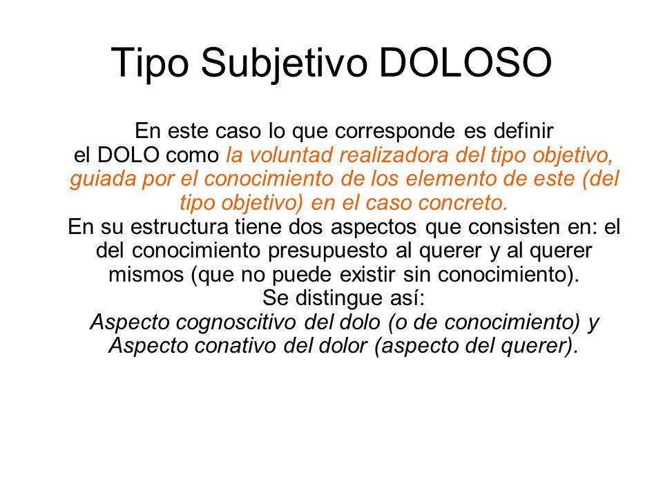 Tipo Subjetivo DOLOSO En este caso lo que corresponde es definir el DOLO como la voluntad realizadora del tipo objetivo, guiada por el conocimiento de