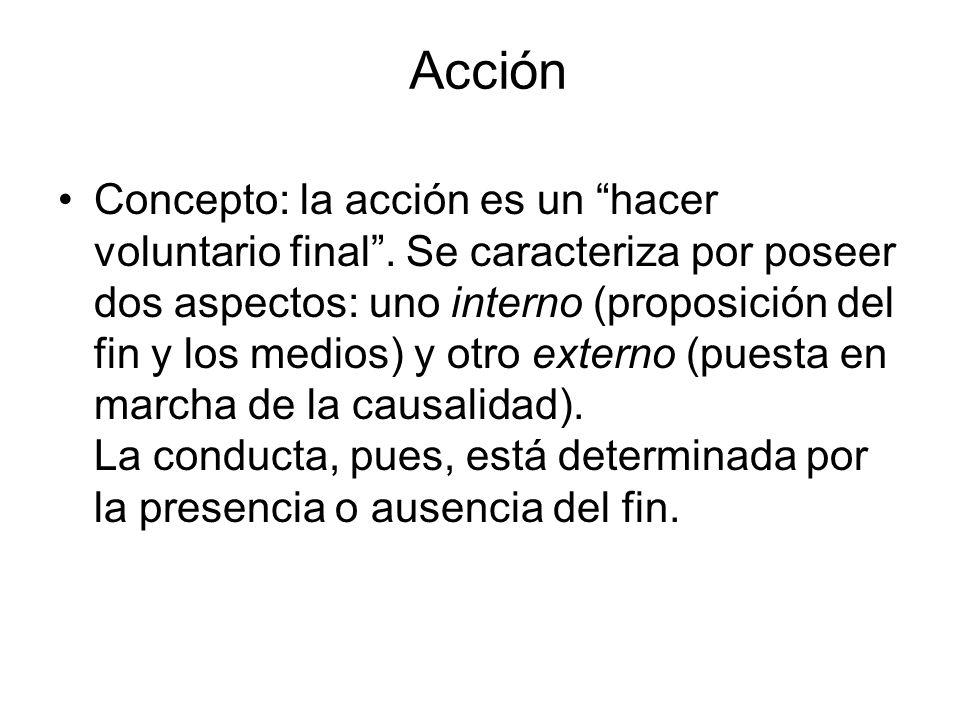 Acción Concepto: la acción es un hacer voluntario final. Se caracteriza por poseer dos aspectos: uno interno (proposición del fin y los medios) y otro