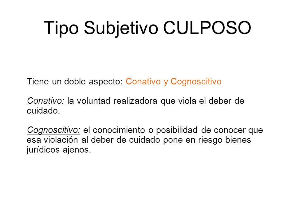 Tipo Subjetivo CULPOSO Tiene un doble aspecto: Conativo y Cognoscitivo Conativo: la voluntad realizadora que viola el deber de cuidado. Cognoscitivo: