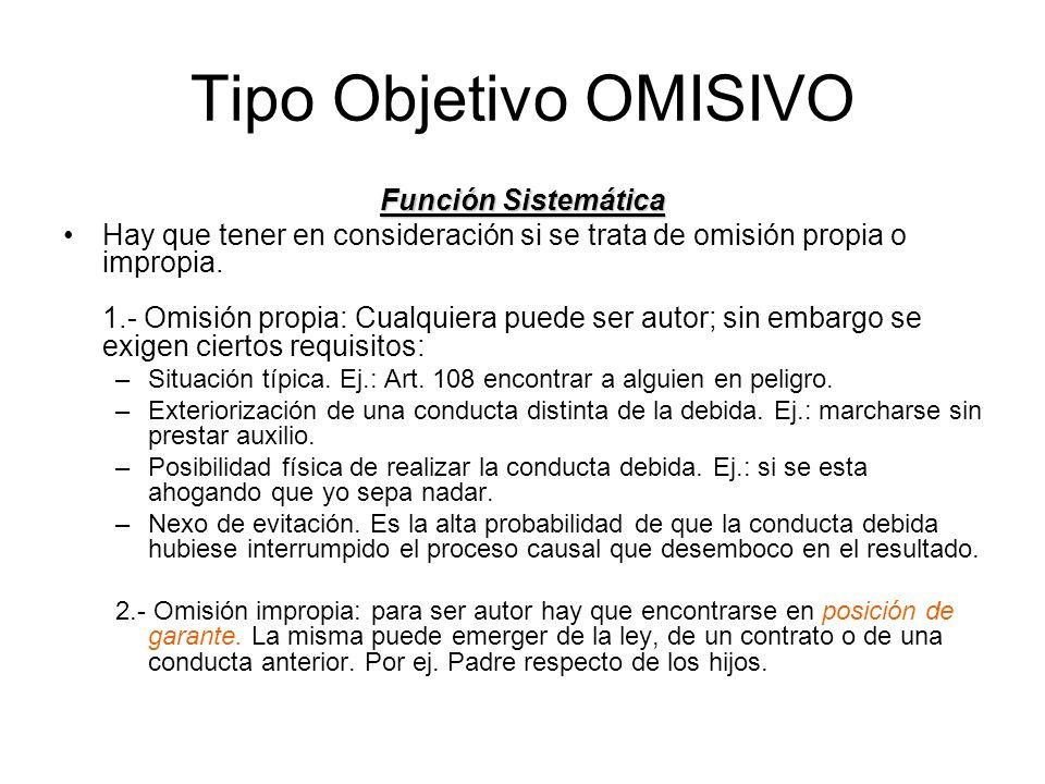 Tipo Objetivo OMISIVO Función Sistemática Hay que tener en consideración si se trata de omisión propia o impropia. 1.- Omisión propia: Cualquiera pued