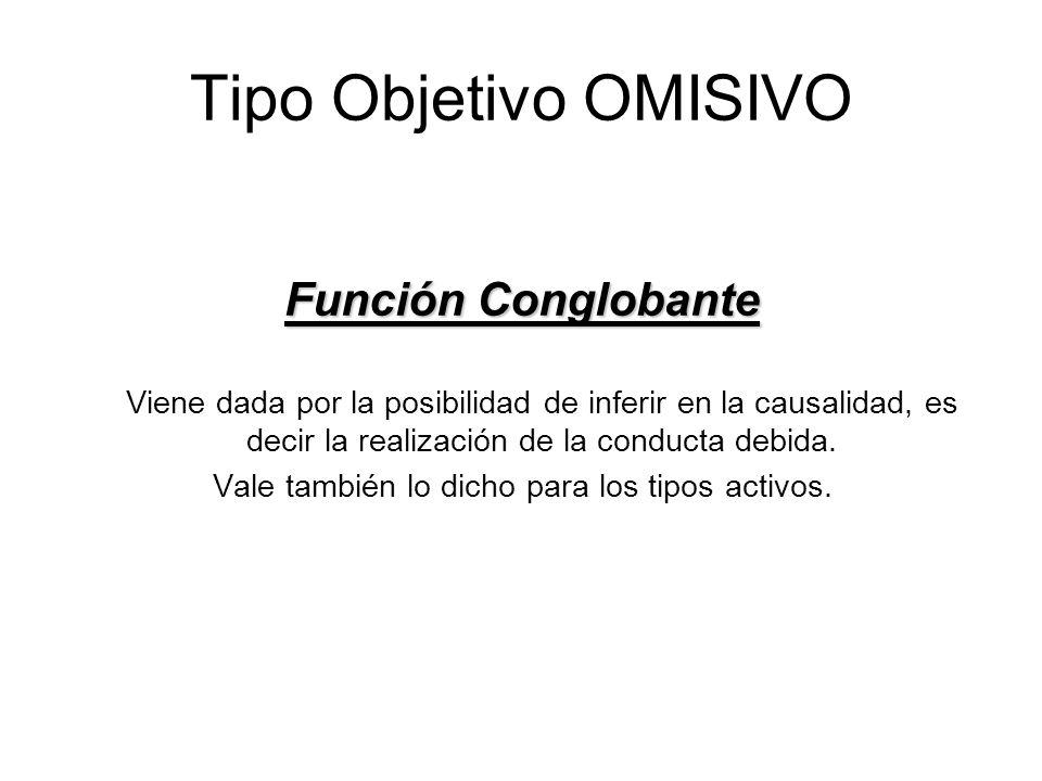 Tipo Objetivo OMISIVO Función Conglobante Función Conglobante Viene dada por la posibilidad de inferir en la causalidad, es decir la realización de la