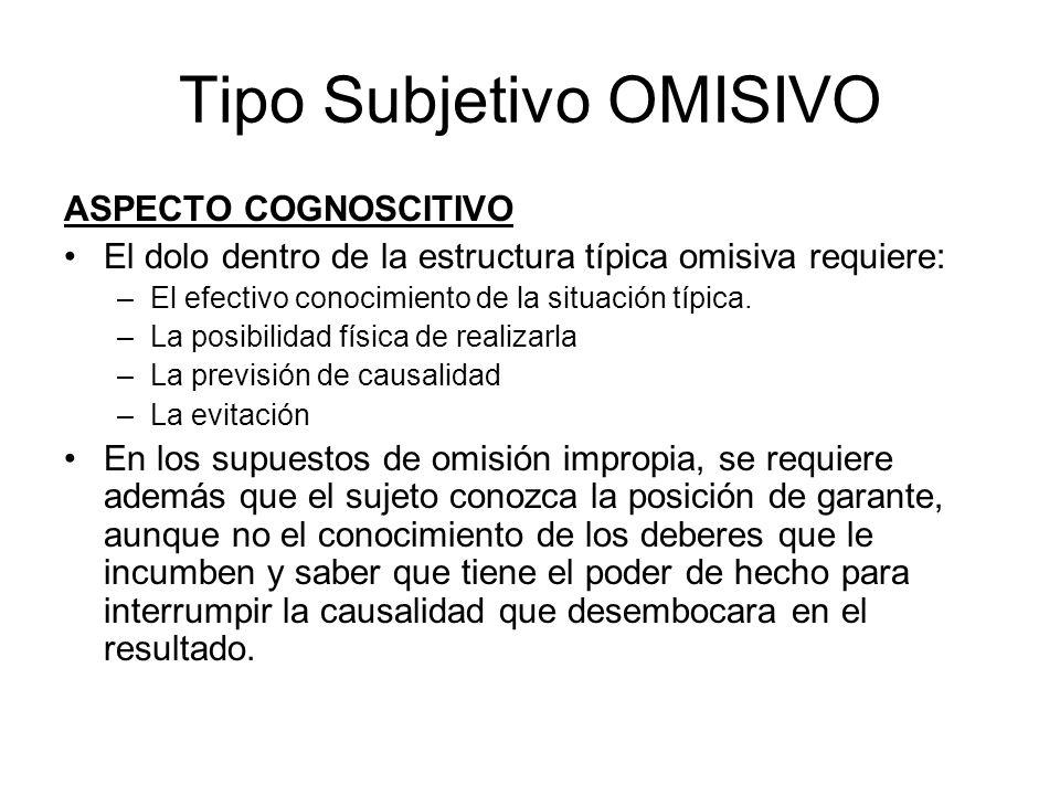 Tipo Subjetivo OMISIVO ASPECTO COGNOSCITIVO El dolo dentro de la estructura típica omisiva requiere: –El efectivo conocimiento de la situación típica.