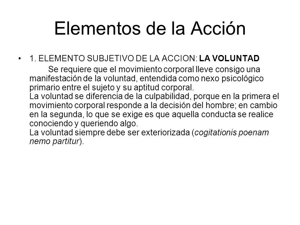 Elementos de la Acción 1. ELEMENTO SUBJETIVO DE LA ACCION: LA VOLUNTAD Se requiere que el movimiento corporal lleve consigo una manifestación de la vo