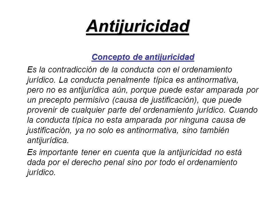 Antijuricidad Concepto de antijuricidad Es la contradicción de la conducta con el ordenamiento jurídico. La conducta penalmente típica es antinormativ