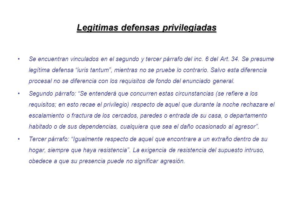 Legitimas defensas privilegiadas Se encuentran vinculados en el segundo y tercer párrafo del inc. 6 del Art. 34. Se presume legítima defensa iuris tan
