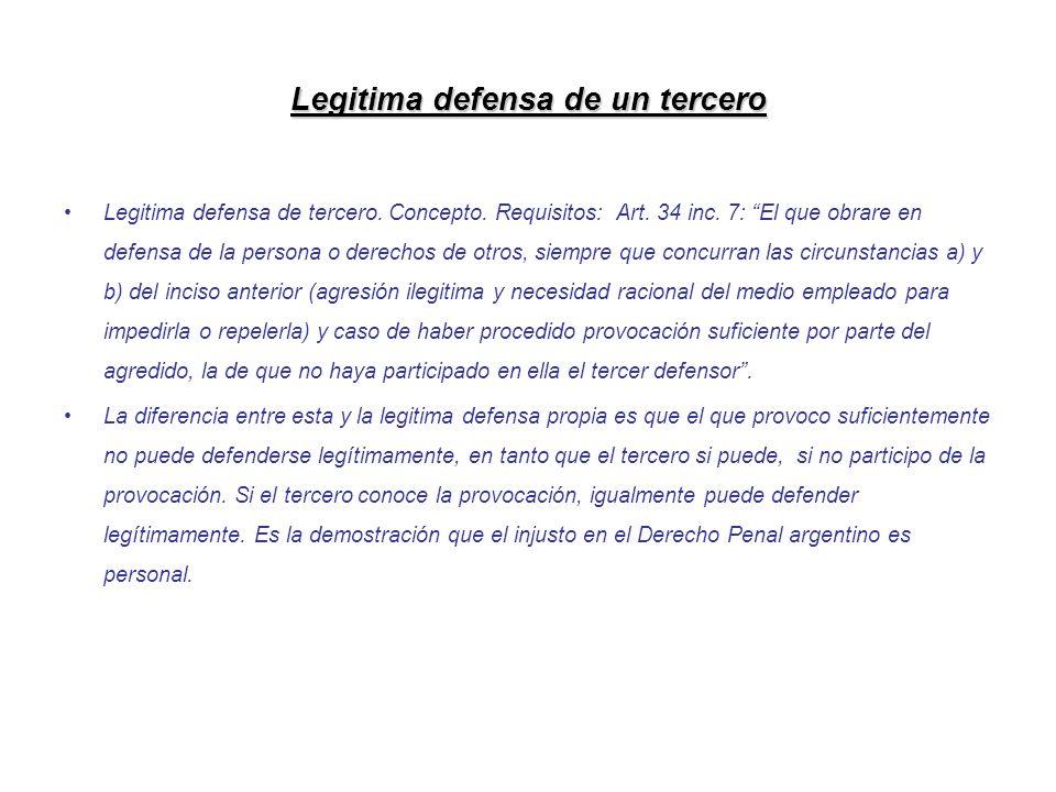 Legitima defensa de un tercero Legitima defensa de tercero. Concepto. Requisitos: Art. 34 inc. 7: El que obrare en defensa de la persona o derechos de