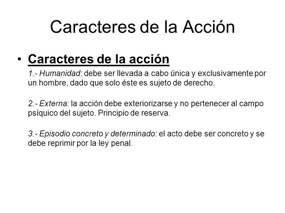 Caracteres de la Acción Caracteres de la acción 1.- Humanidad: debe ser llevada a cabo única y exclusivamente por un hombre, dado que solo éste es suj